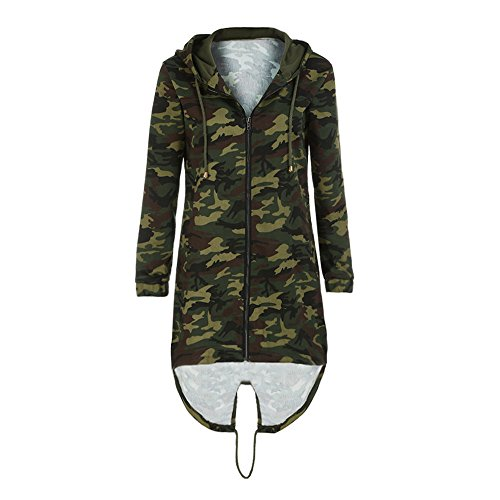 Sleeve Brezeh Windbreaker Women Hooded Jacket Coat Long Camouflage Outwear Long Ladies Coat Camouflage rrv1zqa