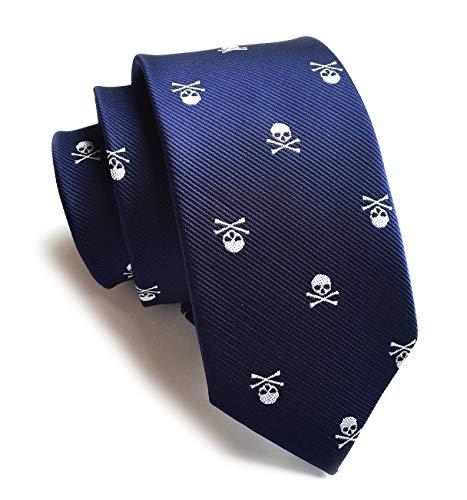 Men's Novelty Ties Repp White Skull Blue Narrow Necktie Birthday Gift for Guys KL03]()