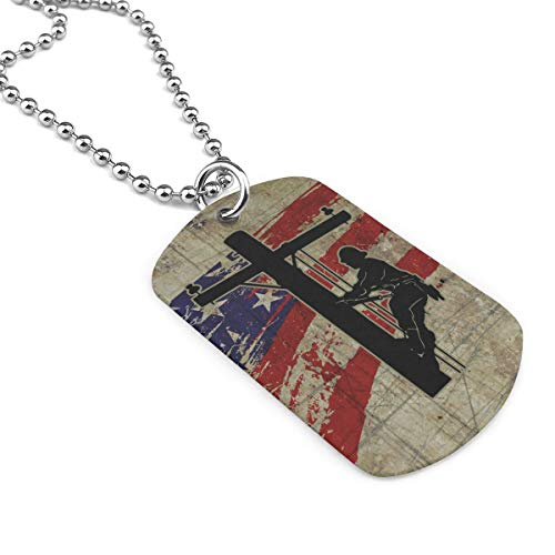 XIKEWL Dog Tag Pendant Necklace Military Chain Air Force Pendant I Love My Lineman Zinc Alloy Necklace Festival Military Necklaces for Great Gift Idea