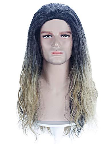 Angelaicos Men's Long Wavy Wig Black Blonde Halloween Cosplay Costume Party Wigs]()