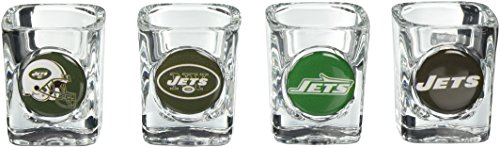 NFL New York Jets Four Piece Square Shot Glass Set (Individual (Square Shot Glass Nfl Football)