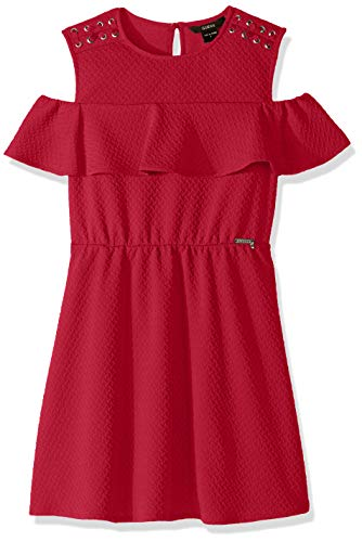 GUESS Girls' Big Cold Shoulder Ruffle Overlay Dress, Electric Rose 7 ()