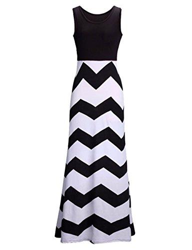 [Bonaweite Women's Long Bohemia Summer Dress Stripes Maxi Skirt Party Dresses] (Black White Stripe Dress)