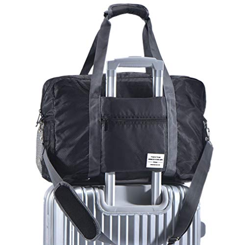 ight Waterproof Foldable Storage Carry Luggage Duffle Tote Bag (Black) ()