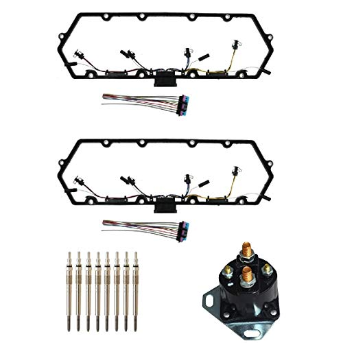 Michigan Motorsports 7.3 L Diesel Powerstroke Valve Cover Gasket, Includes 8 Glow Plugs, Relay, Plus Injector Glow Plug Harness Fits Ford 7.3 F250 F350 1997-2003
