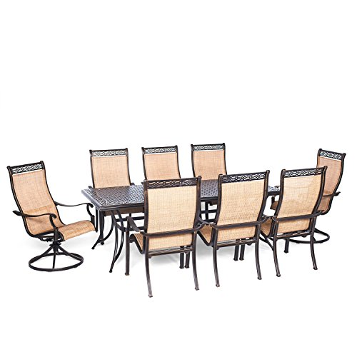 Hanover Manor 9 Piece Outdoor Dining Set with Two Swivel Rockers (9 Piece Outdoor Dining Furniture)