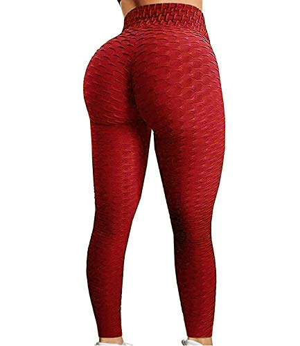 63903bfdb5f46a Fittoo Women's Honeycomb Ruched Butt Lifting High Waist Yoga Pants Chic  Sports Stretchy Leggings Red(