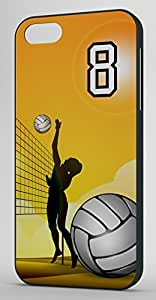 Volleyball Sports Fan Player Number 8 Smoke Rubber Decorative iPhone 5/5s Case by mcsharks