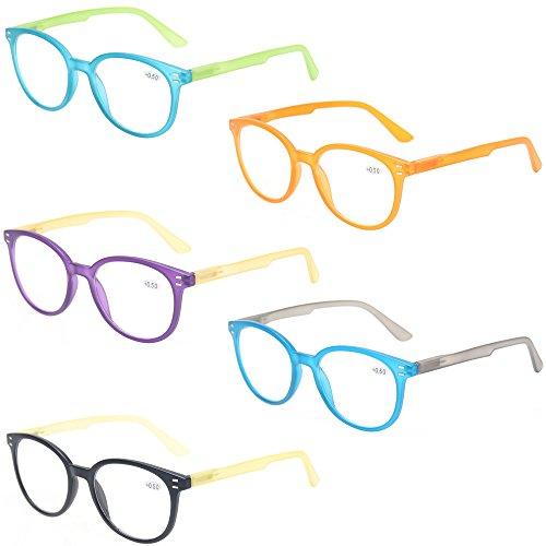 Reading Glasses 5 Pack Vintage Round Frame Men and Women Spring Hinge Readers