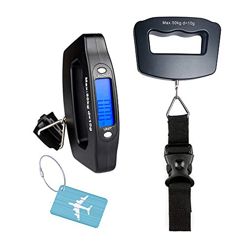 YYGJ Handheld Digital Luggage Scale with Grip for Travel Portable Electronic Weighing Suitcase and Bag 110Lb/50kg Black ()