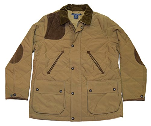 (Ralph Lauren Polo Womens Quilted Suede Jacket Coat Saddle Brown Khaki Large)
