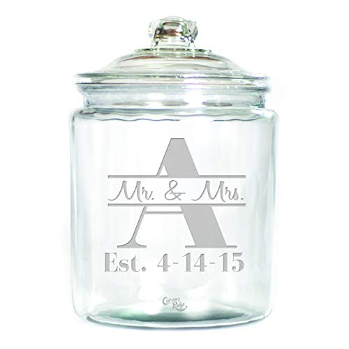 (Engraved Glass 1 Gallon Canister - Personalized - Mr. & Mrs. through Monogram)
