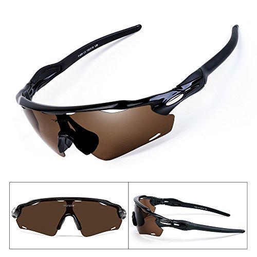 BATFOX Polarized Sports Sunglasses with Interchangeable Lenses Glasses for Men women Running Cycling Baseball Fishing Baseball Driving Outdoor 100% UV Protection(Brown, F-868)