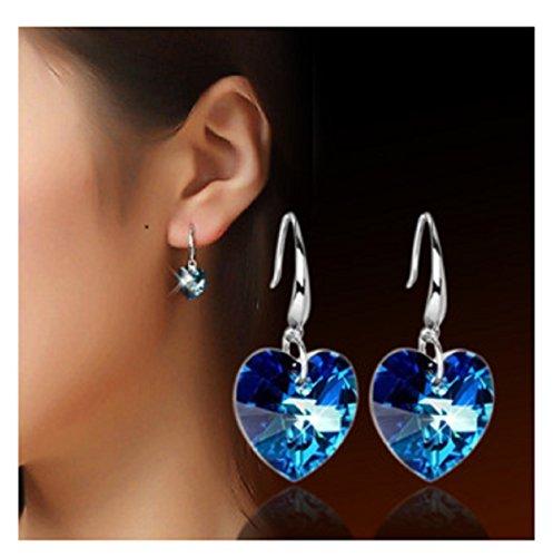 Coeur pur Argent et Cristal Boucles d'oreille pour femme