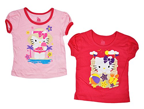 Hello Kitty Toddlers Glitter Beach Tee 2 Pack (2T)