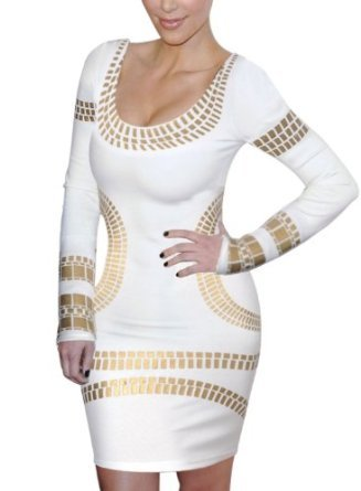 Miusol Celebrity Kim Egypt Gold Foil Print Long Sleeve Bodycon Dress