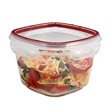 Rubbermaid 7K9400CIRED Lock-its 7-Cup Square Food-Storage Container with Lid