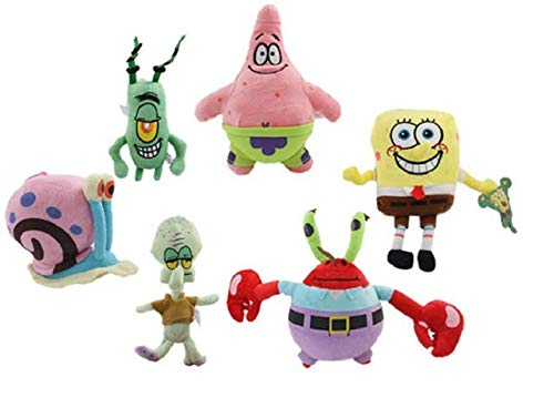 6pcs / lot Spongebob Plush Stuffed Sponge Bob / Patrick / Crab / Plankton / Octopus / Doll Snail Children Toy Brinquedos S1040 Gift