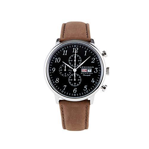White Dial Flight Chronograph (Armogan Spirit of St. Louis - Silver Black - Men's Chronograph Watch Suede Leather Strap)
