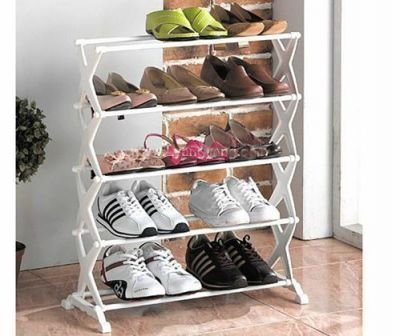 2017 adjustable 5 layer shoes organizer storage rack shelf stainless steel folding 5 tiers stackable shoes - Shoes Organizer