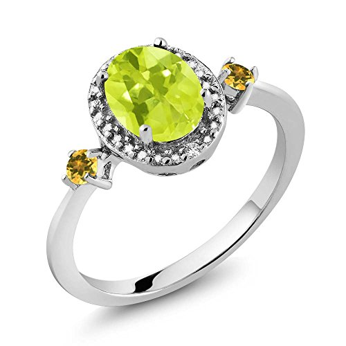 Lemon Citrine Ring (1.25 Ct Oval Lemon Quartz Simulated Citrine 925 Silver Ring With Accent Diamond)