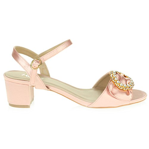 Heel Toe Party LONDON Wedding AARZ Shoes Ladies Sandals Evening Women Block Prom Open Casual Size Pink Diamante vBwY7fRxq