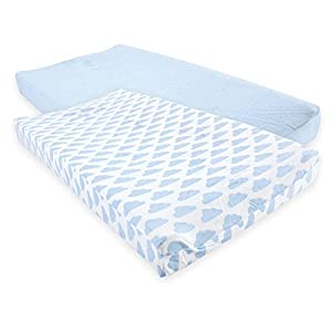 Hudson Baby Cotton Changing Pad Cover, 2 Pack, Heather Blue Cloud, One Size