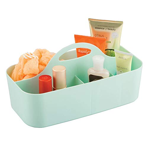 mDesign Plastic Makeup Storage Organizer Caddy Tote - Divided Basket Bin, Handle for Eyeshadow Palettes, Nail Polish, Makeup Brushes, Cosmetic and Shower Essentials - Large - Mint Green