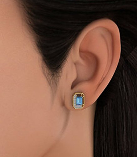 14 K Or jaune 0.18 CT TW White-diamond (IJ | SI) et topaze bleue Boucles d'oreille à tige