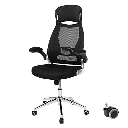SONGMICS Swivel Office Chair with Mesh Backrest Headrest and Flip up Armrests Black UOBN86B by SONGMICS
