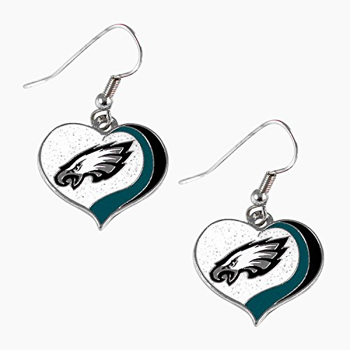 Philadelphia Eagles Glitter Heart Earring Swirl 3/4 Inches Charm Earring Set Philadelphia Eagles Charm