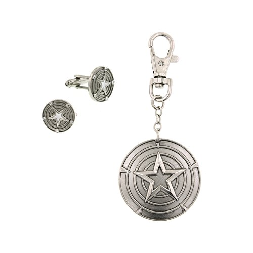 Captain America Cuff Links and Key Chain Boxed Set Officially Licensed by MARVEL + Comic Con Exclusive - Exclusive Boxed Set