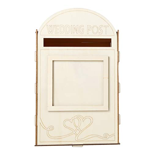 (Hardli Wooden Wedding Post Box Royal Mail Styled Cards, Letter Gift Message Storage with Lock Heart Photo Frame Decor)