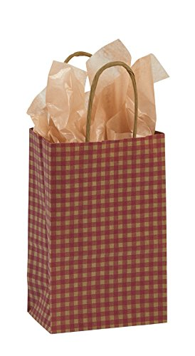 (Small Red Gingham Paper Shopping Bags - Case of 25)