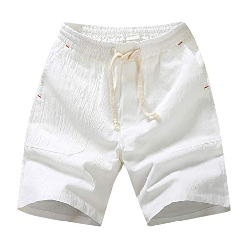 Fashion!! SFE Men Summer Shorts,Men's Summer Casual Solid Pocket Drawstring Cotton Linen Short Pants White