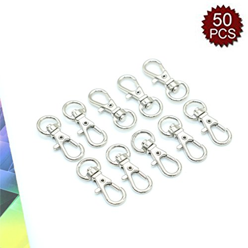 Pack of 50 Metal Small Swivel Clasps Lanyard Snap Hook Lobster Claw Clasp Jewelry Findings By IDS,1 1/4