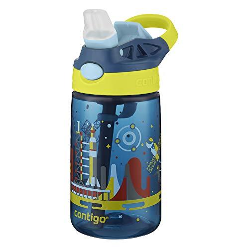 Garrafa de Água Infantil com Bico e Canudo, Contigo, Gismo Flip, Azul Navy, 414ML