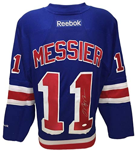 Reebok Autographed Jersey Authentic Blue (Mark Messier Autographed Signed New York Rangers Blue Reebok Premier Lg Jersey - JSA Authentic)