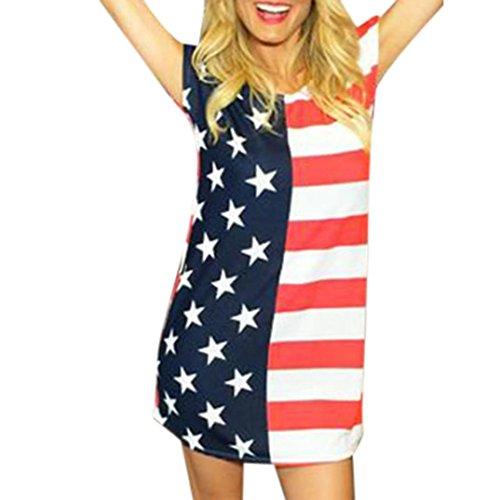 Tenworld Women Ladies American Flag Sexy Short Sleeve Mini Shirt Dress (M, Multicolor)
