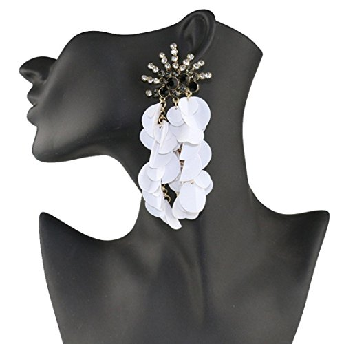 Liraly Bohemian Women Fashion Crystal Sequins Tassels Earring Gorgeous Jewelry (White) (Harley Davidson Panties)