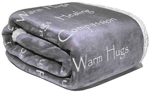 WOLF CREEK BLANKET - Compassion Blanket - Cancer Gift Blanket Get Well Gifts for Women Men Warm Hugs Healing Thoughts Positive Energy Courage Soft Fluffy Comfort Caring -Gray (50