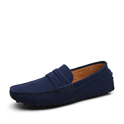 Leather Mens Shoes Loafer Slip Penny Beau Moccasin Dark Suede SUNROLAN Driving Casual Flat Blue On WI75nYZ