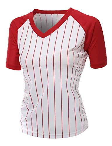 Baseball Womens V-neck (Women's Casual Cool Max Striped Short sleeve basebALL V-neck T-shirt RED Size S)