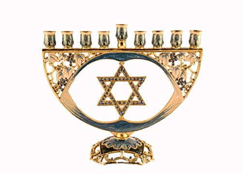 Pewter Decorative Menorah - Ciel Collectables Decorative Menorah with Star of David, Hand Set Swarovski Crystal, Hand Painted Blue Enamel Over Solid Pewter Base, It Holds 9 Small Candles, L 8.00 x H 6.50