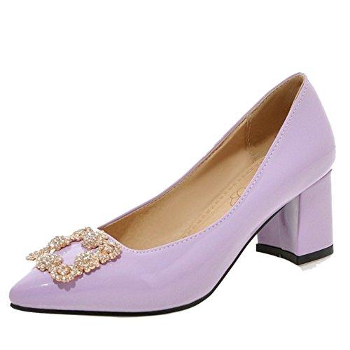 TAOFFEN Women Elegant Patent Shoes Slip On Mid Heel Court Shoes Purple