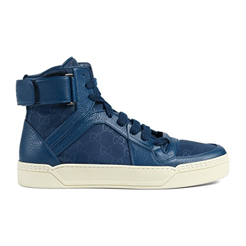 Gucci Men's Blue Nylon Leather GG Guccissima High Top Sneakers Shoes, Blue, US 8.5 7.5 (Shoes Mens Gucci Leather)