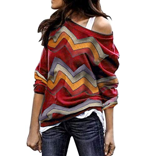 Sunhusing Ladies Colorful Geometric Wavy Stripe Print Long Sleeve Round Collar Off Shoulder T-Shirt Top (Baseball Sleeveless Uniform)