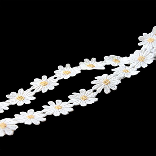 Qianle 5 Yards Daisy Sun Flower Patten Lace DIY Ribbon Art Crafts Tape for - Daisy Trim