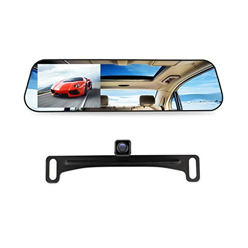 AUTO-VOX M2 1080P HD Rearview Mirror Dash Cam with Car Recorder and Reverse Parking System, Car Rear View Backup Camera and 32GB Micro-SD Included