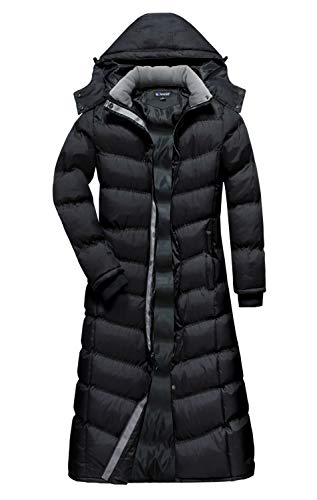 U2Wear Women's Water Resistant Puffer Full Length Coat with Hood 2016 - Black, M